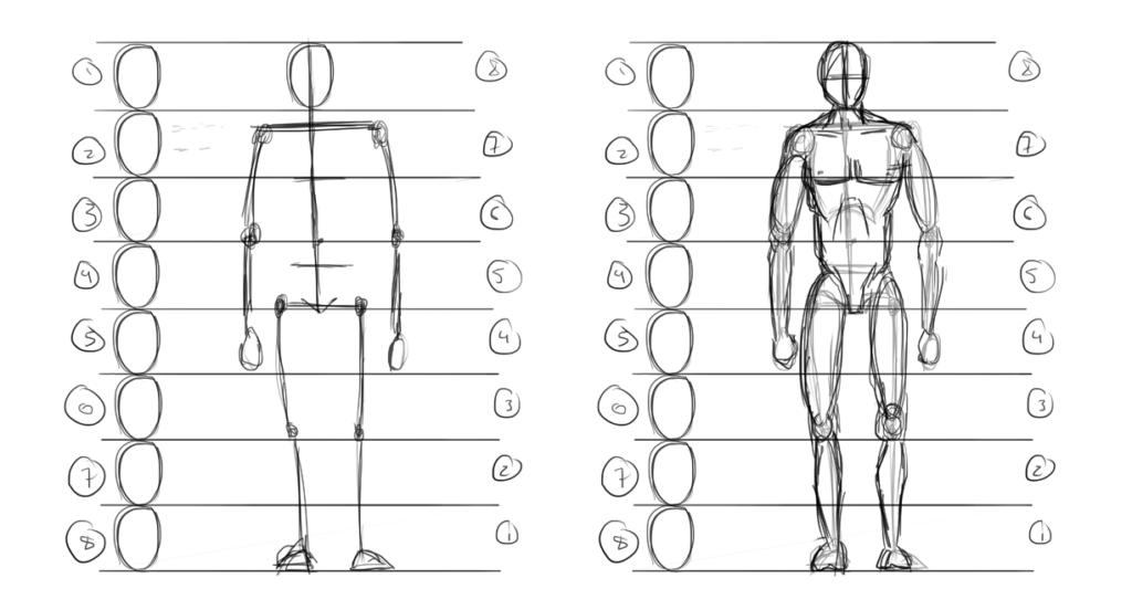 Набросок рисунка человека